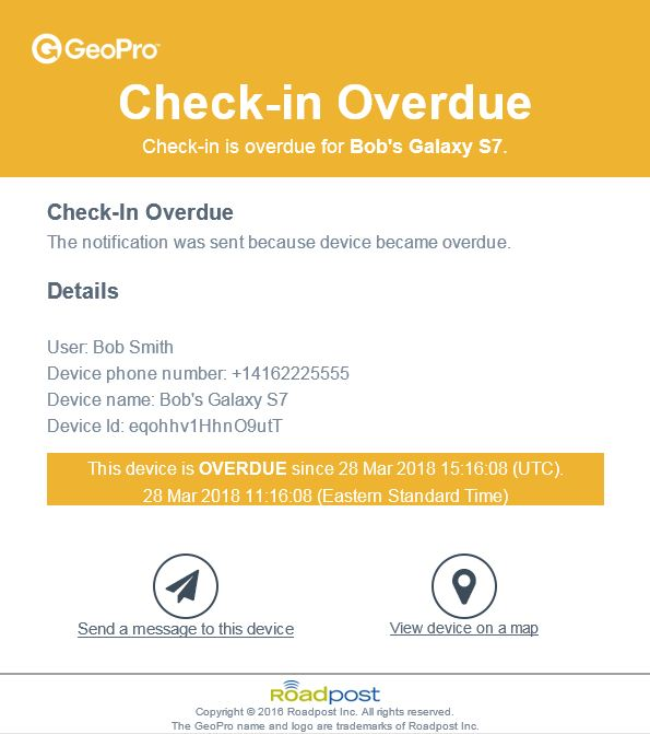 GeoPro check-in overdue screen