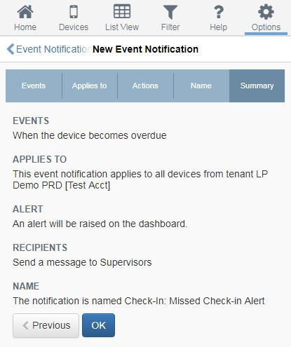 GeoPro new event notification screen